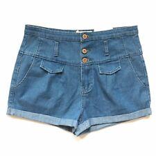 BNWT Topshop Moto Blue Denim High Waisted Shorts Pin Up Hot Pants Cuffed W30 12