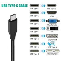 USB-C Type C to HDMI DVI VGA DP Displayport 4K USB C USB3.0 Cable lead Convertor