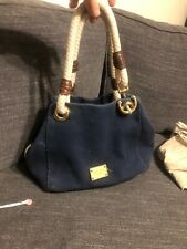 Michael Kors Marina Anchor Rope Navy Blue  Canvas Shoulder Tote Bag Pre-Owned