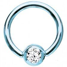 """Captive Lip Ear Eyebrow Ring 16 Gauge 3/8"""" Titanium Blue Lt w/Clear 4mm Gem Body"""