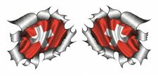 Small Pair STD RIP Ripped Torn Metal Switzerland Swiss Country Flag car sticker