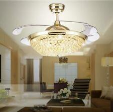 """Silver/Gold 42"""" Crystal Led Chandeliers Remote Retractable Ceiling Fans Lamps"""