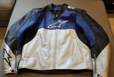 Alpinestars Stunt Jacket Size 40 LEATHER MOTORCYCLE JACKET BLACK BLUE SILVER