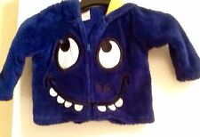 BOYS 12M BLUE 2 EYE MONSTER HOODED FUZZY JACKET WITH YELLOW EARS