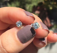 1Ct Round Cut Sparkle Moissanite Solitaire Stud Earrings 14K White Gold Finish