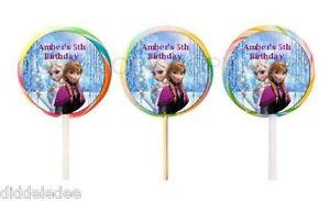30 Disney Frozen Stickers Lollipop Labels Party Favors 1 1/2 inch Personalize