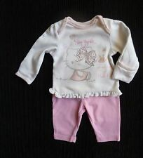 Baby clothes GIRL newborn 0-1m<9lbs/4.1kg outfit LS cat cream/pink top/leggings