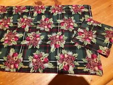 Handmade Christmas Placemats & Coasters Green/red tartan