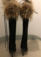 MANOLO BLAHNIK Over the Knee Black Suede Stiletto Boots Fur Zipper NWT