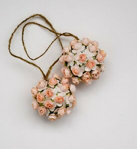 SET OF TWO Pink Flower Balls, Handmade Wedding Pomanders, Pomander Balls Hanging