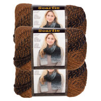 3pk Lion Brand Scarfie Acrylic & Wool Yarn Bulky #5 Knitting Crochet Skeins Soft