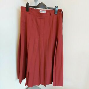 BIANCA 100% Wool Pleated Lined Skirt Midi Length Brick Colour EU 42 UK 14
