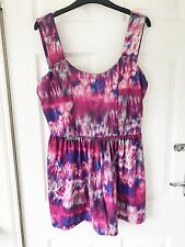 Size 14 Asos Pink Purple Pastel Tie Dye Hippy Festival Mini Sleeveless Play Suit