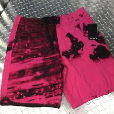 Hurley Mens Board Short Pink Black Swimming Trunks Youth Size 31 NEW