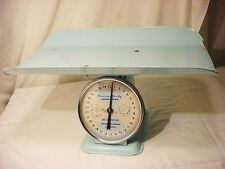 Vtg American Family Scale Metal Nursery Scale w Basket Boys Baby Blue Vgc