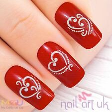 White Heart Water Decal Nail Art Stickers - Love 01.03.070