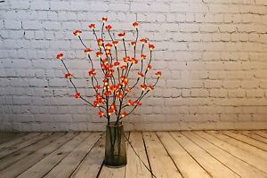 Cherry Blossom Red Twig Branch Light, Warm LED Lights with Plug-in Power