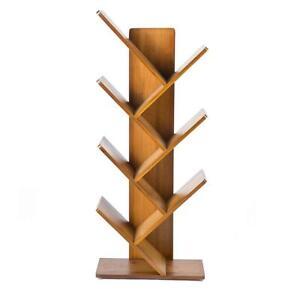 6 Shelf Tree Free Standing Bookshelf Wood Shape Desk Bookcase Display Rack Tree