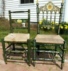 Two Spanish Country Antique Original Painted & Decorated Rush Seat Chairs Spain