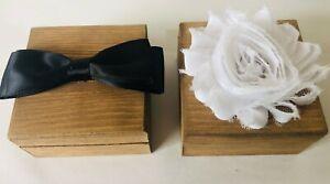 Personalised Mr Mrs Wooden Wedding Ring Boxes Rustic Bearer Bride Groom Marriage