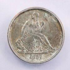 1837 Liberty Seated Dime No Stars Large Date ICG AU50