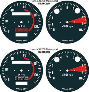HONDA XL125 XL250 XL350 MOTOSPORT SPEEDO TACHO CLOCK GAUGE FACE OVERLAY