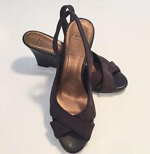 "CIRCA JOAN & DAVID Womens KROSS"" Sandals Wedge Heel Shoes 7.5 M BROWN-EUC"