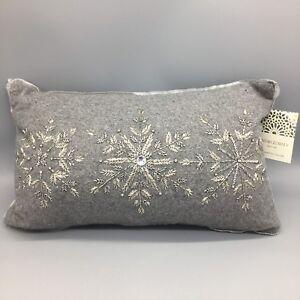 "Cynthia Rowley Beaded Rhinestone Snowflake Lumbar Pillow Gray Christmas 12x20"""