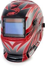 Titan 41267 Solar Powered Red and Sliver Auto Dark Welding Helmet DIN 9 - DIN 13