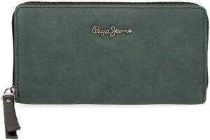 Portafoglio Donna PEPE JEANS 7718461 Verde/Nero Con Cerniera Misura 19x10x2,5cm