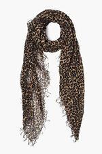 NEW! Chan Luu LEOPARD Print Roasted Pecan Cashmere Silk Scarf Wrap Shawl