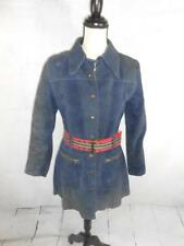 Bagatelle Margaret Godfrey Womens Blue Suede Military Leather Trench Coat Jacket