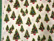 Retro Christmas Trees Xmas Kitsch Anna griffin Quilt Fabric by the 1/2 yd