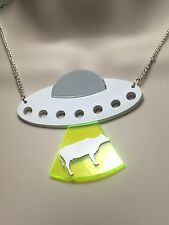 Laser cut acrylic 'UFO beaming up a COW' statement necklace..