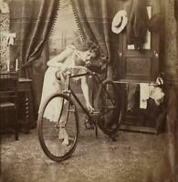 c. 1880's Woman Testing Bicycle in Home Stereoview Albumen Unmounted Photograph