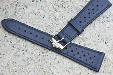 Blue 20mm band vintage with Heuer buckle compatible with Heuer Carrera Siffert