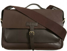 NEW $498 Marc by Marc Jacobs Structured Briefcase Brown Python leather