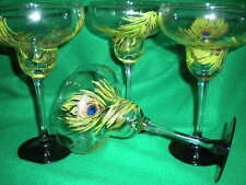 HANDPAINTED  GREEN PEACOCK FEATHERS SET/4 MARGARITA GLASS (MADE IN THE USA)