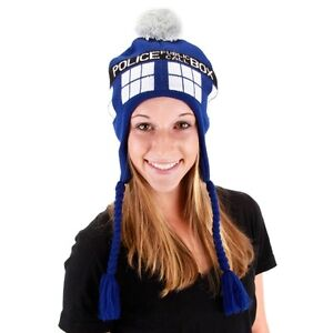 NEW Dr Doctor Who Blue TARDIS Police Call Box Laplander Hat Beanie BBC Licensed
