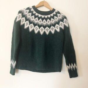 LL Bean Womens S Petite Lambs Wool Green Fair Isle Crewneck Pullover Sweater