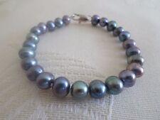 Deco PEARL bracelet Black 7-8mm Sterling 925 Silver Natural Cultured Pearls
