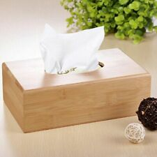 Bamboo Tissue Box Portable Paper Napkin Tray Storage Kitchen Living Room Decor