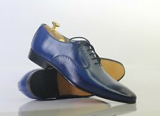 Handmade Men's Blue Leather Lace up Shoes, Men Stylish Dress Formal Shoes