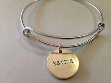 Karma Bracelet Charm Bangle SILVER Inspiration Message Positive Faith Believe