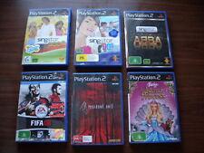 Lot x 6 Playstation 2 PAL Singstar Pop 90s ABBA Barbie FIFA 08 Resident Evil