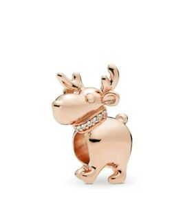 Charms Raindeer bead Charms rose gold Fits European Bracelets Christmas CH167