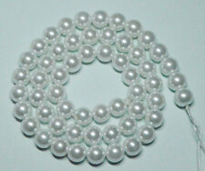 8mm White Shell Pearl Round Beads Imitation Pearls Loose Beads 16 inches