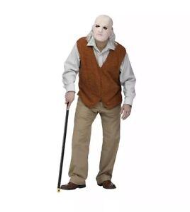 Mens Geriatric Grandpa Old Man Mask Bad Geezer Vest Adult STD Costume Funny