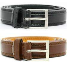 """Mens Milano Black Brown 1"""" Wide Bonded Leather Casual Work Everyday Belt"""