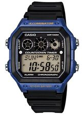 Casio Watch * AE1300WH-2AV Referee Timer Blue & Black Square Digital COD PayPal